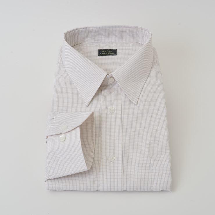 長袖 ワイシャツ Mサイズ グラフチェック▼50410-2-M 新品 レギュラーカラー ホワイト×ブラウン おすすめ メンズ 紳士 Yシャツ 39-82_画像4