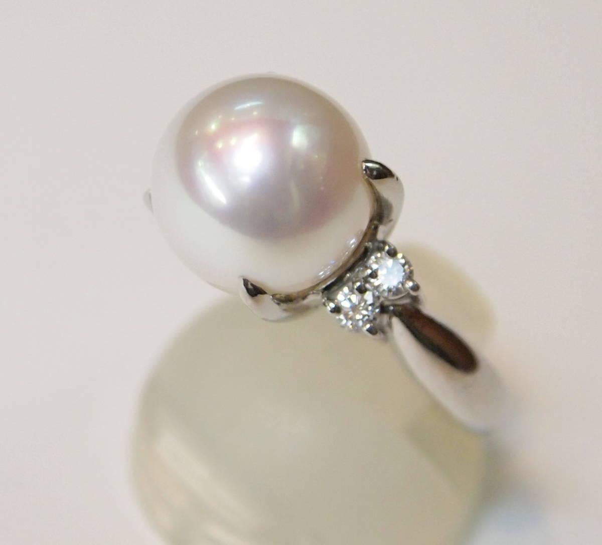 新品 送料無料 プラチナ900製 11.3ミリ 南洋 白蝶真珠 ダイヤ入り シンプル リング/Pt/パール 指輪/在庫処分/定番 フォーマル 冠婚葬祭_長く使えるベーシックなデザインです。