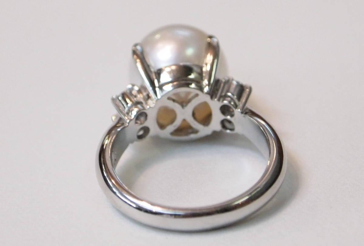 新品 送料無料 プラチナ900製 11.3ミリ 南洋 白蝶真珠 ダイヤ入り シンプル リング/Pt/パール 指輪/在庫処分/定番 フォーマル 冠婚葬祭_プラチナ枠もしっかりとして重量感あります