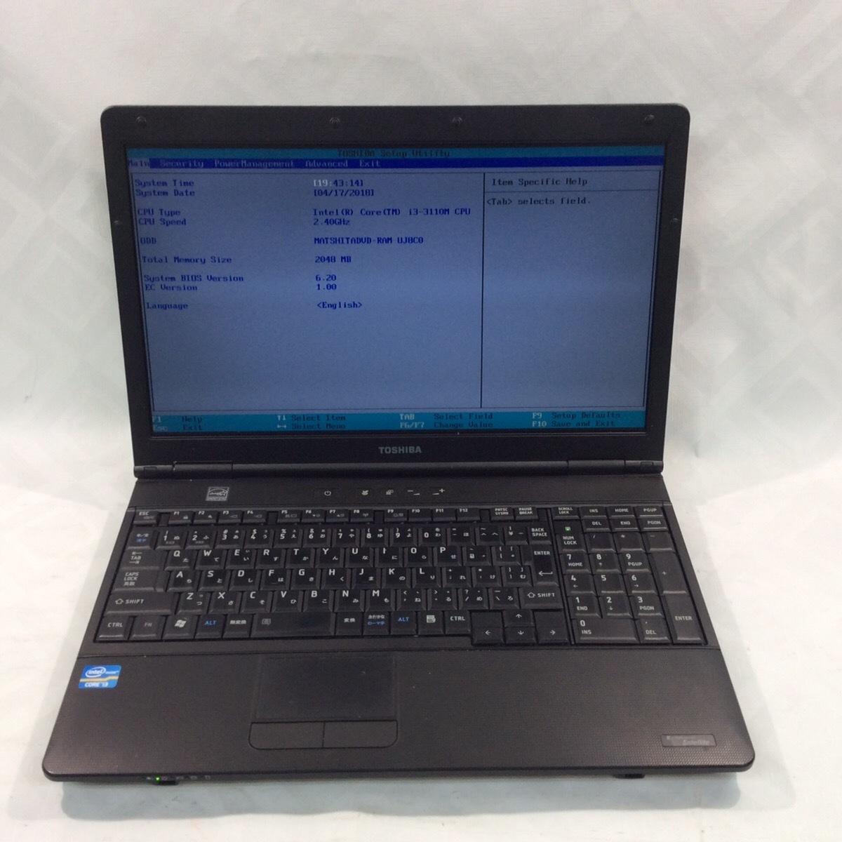 【ジャンク品】[K0417(6)]ノートパソコン 東芝 PB552GFBPR5B71 HDDなし メモリなし 1円スタート