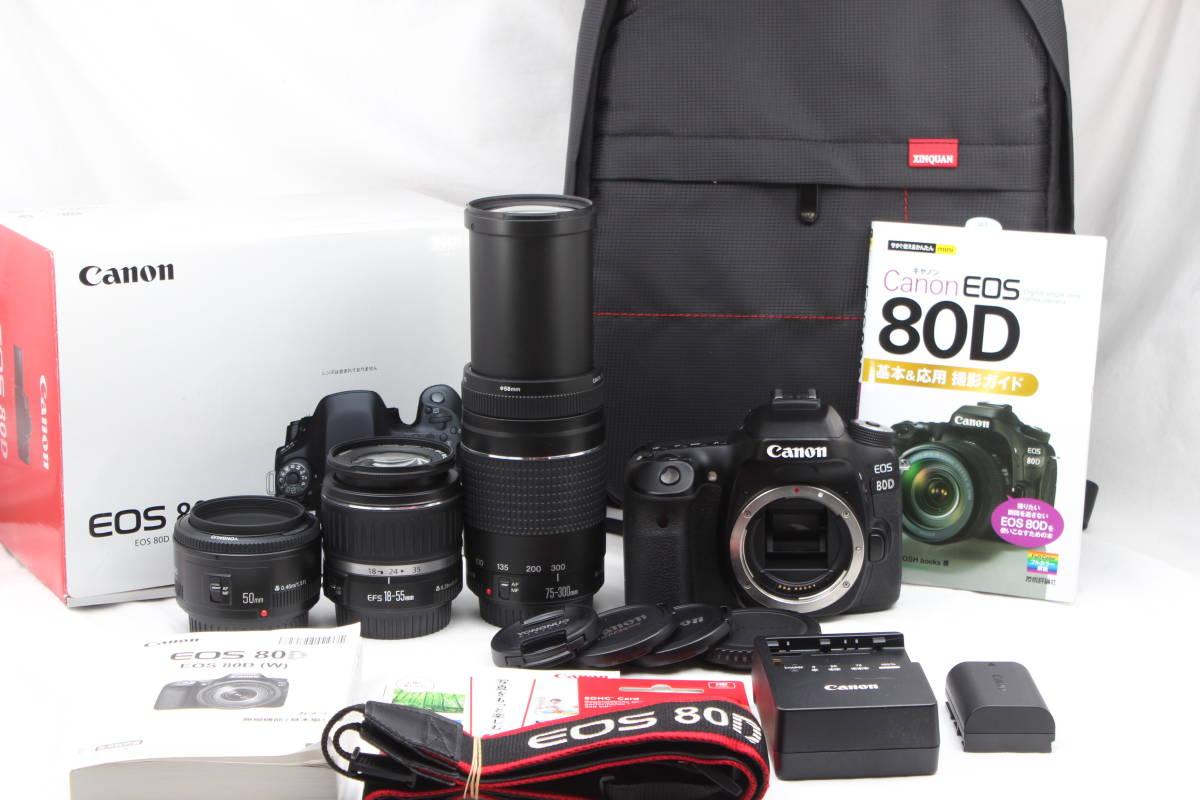 ★極上美品★ Canon キャノン EOS 80D 超望遠Wズーム & 単焦点トリプルレンズセット カメラバッグ+5ヶ月保証& ガイド本付き♪