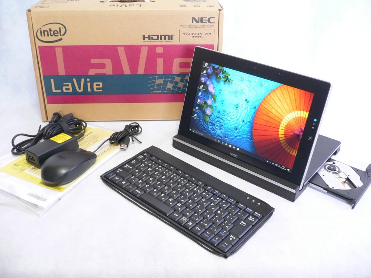 「極超美品 10.1HD 1366x768 タッチ NEC LaVie Touch LT550/FS Win10/Office/64GB/Sマルチドック/有線マウス・KB 即使用可〔ブラック〕 (NEC 小型 ノートブック)」の画像
