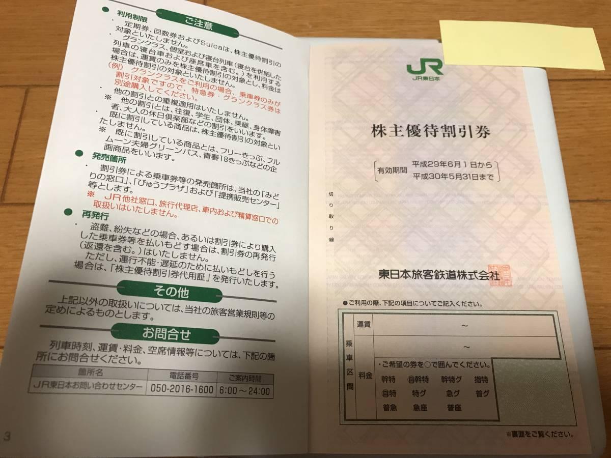【JR東日本】株主優待券 1枚 有効期限H30年5月31日迄