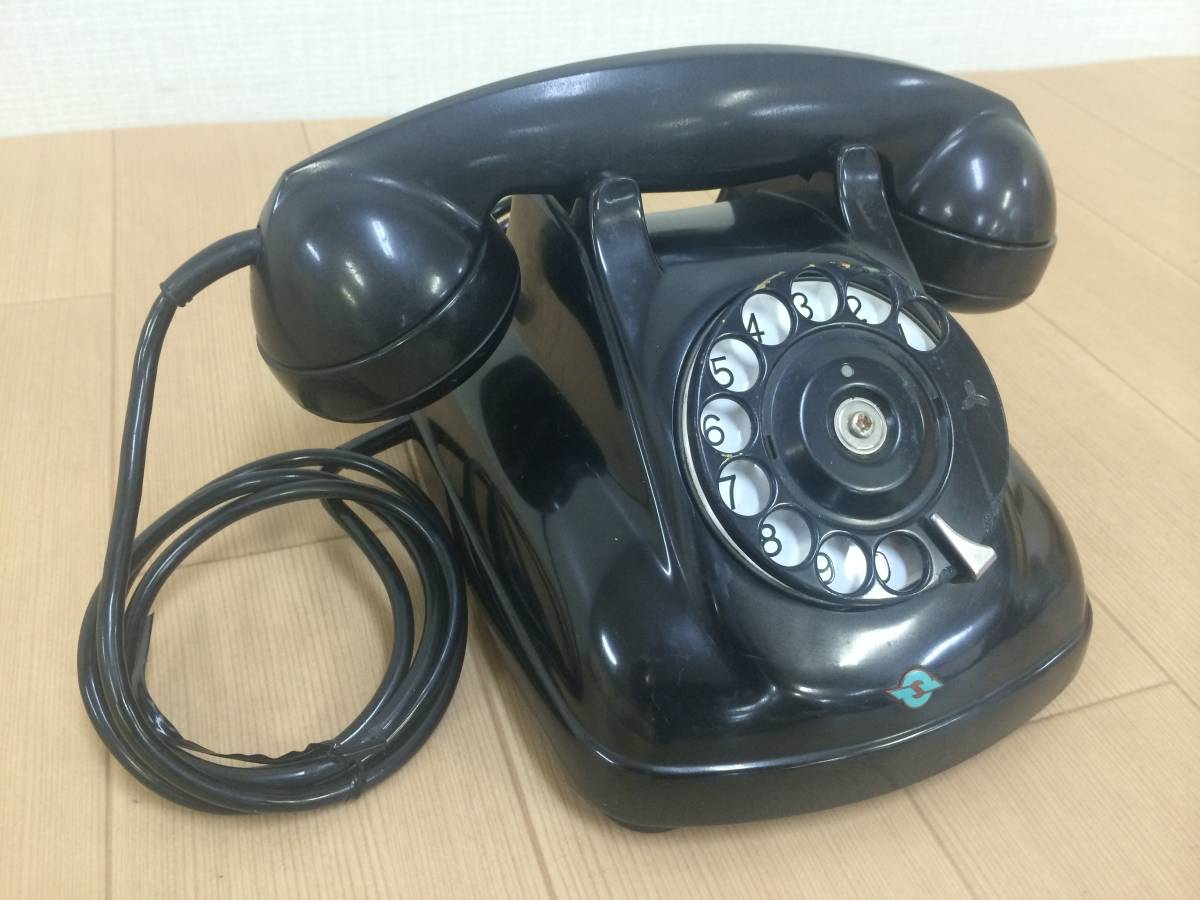 J40334[ Showa Retro ] black telephone Japan electro