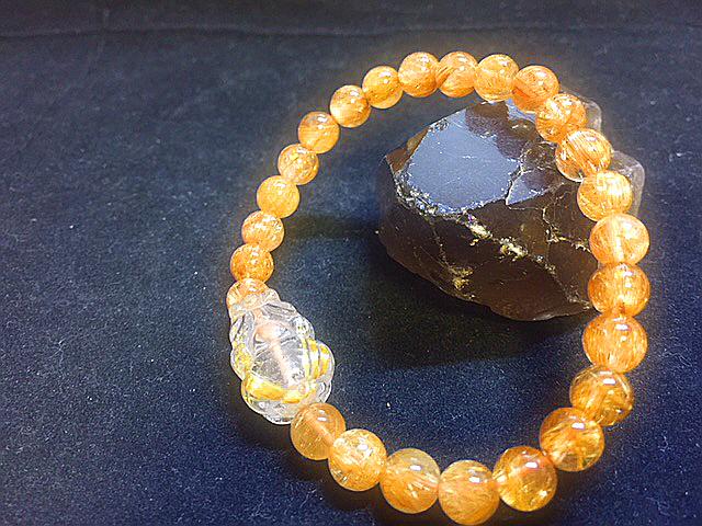 天然石最高級品質【黄金タイチンルチルクォーツ】ブレスレット 金針入り貔貅のお守つき 7㎜ パワーストーン 一点もの入手困難_7㎜と細いですが超キレイです☆