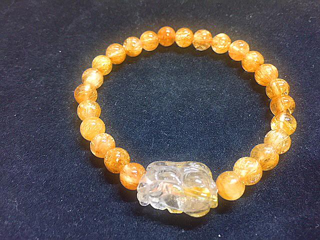 天然石最高級品質【黄金タイチンルチルクォーツ】ブレスレット 金針入り貔貅のお守つき 7㎜ パワーストーン 一点もの入手困難_金運upに是非いかがですか?