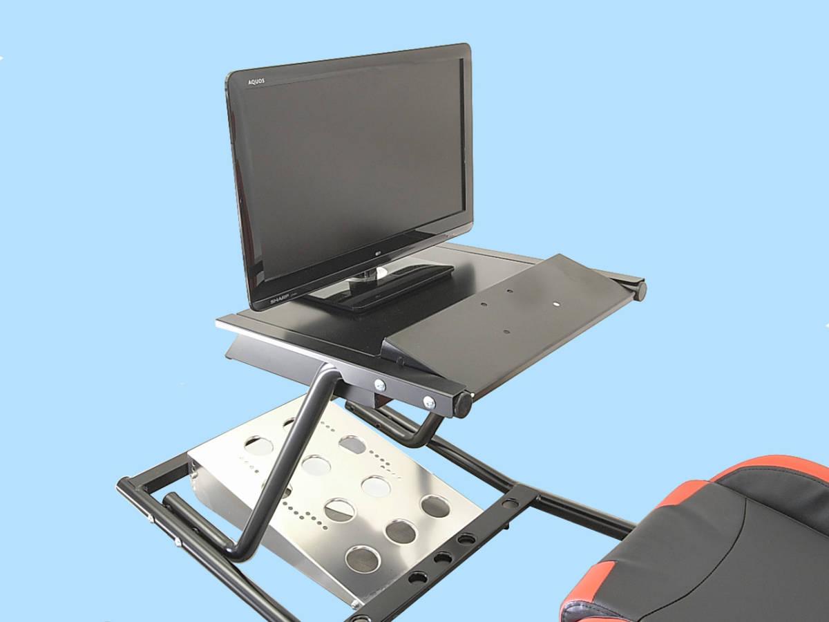 PS4 PS3 GTスポーツ ハンコン スタンド コックピットセット シート付 新品 国内生産品_オプションの本体収納&モニタースタンド。