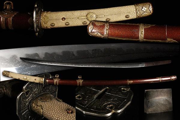 【喜】最高級大名品 梨地 銀鍔 金具一作 太刀拵 銀ハバキ 乱刃紋 刀 武具 刀装具 100278