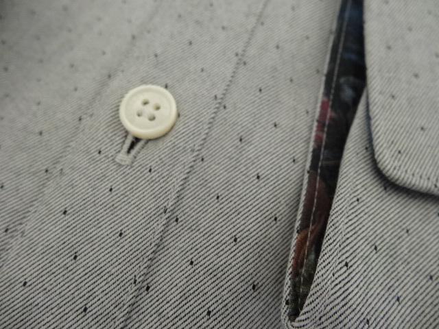 ●グレー地にドット柄のドレスシャツ 新品 ポールスミス 袖裏はフラワー柄●_グレー地にドット柄