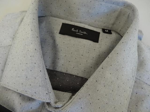 ●グレー地にドット柄のドレスシャツ 新品 ポールスミス 袖裏はフラワー柄●_Mサイズ