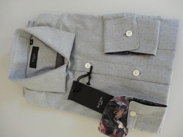 ●グレー地にドット柄のドレスシャツ 新品 ポールスミス 袖裏はフラワー柄●_新品 未使用