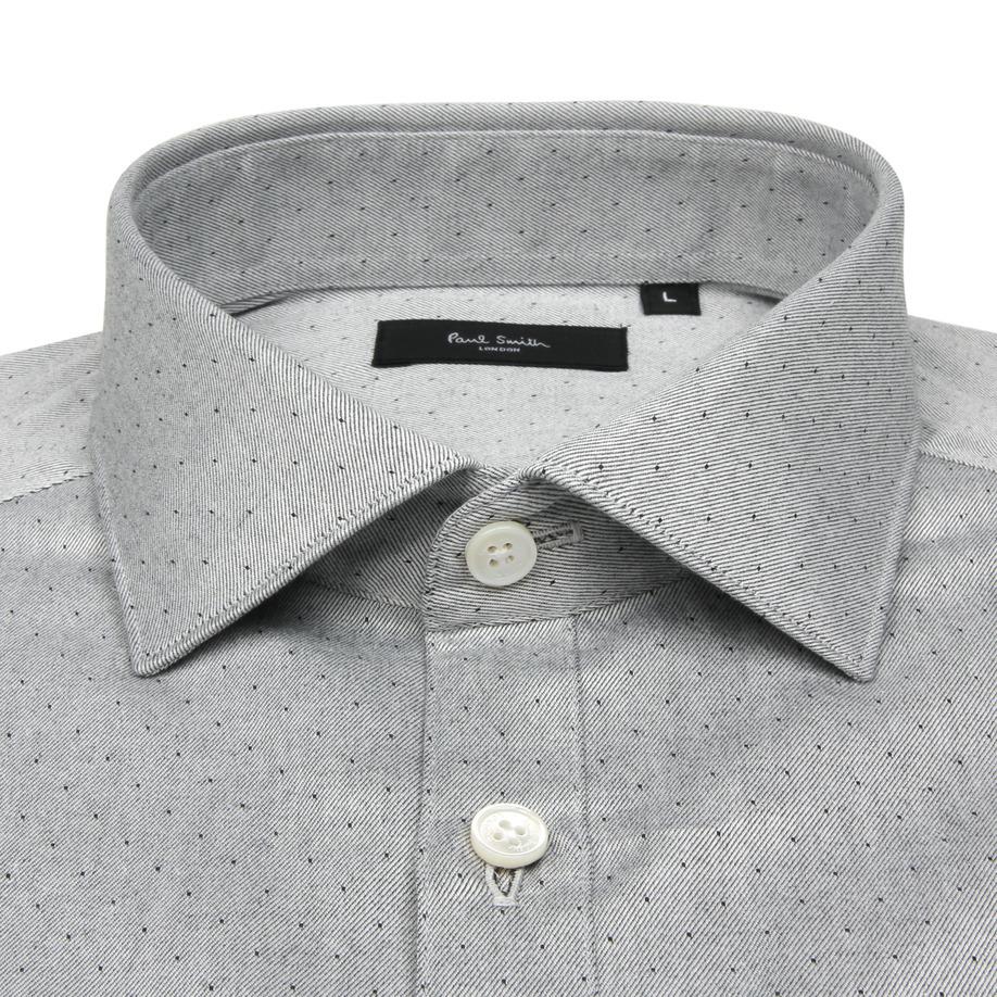 ●グレー地にドット柄のドレスシャツ 新品 ポールスミス 袖裏はフラワー柄●_イメージ