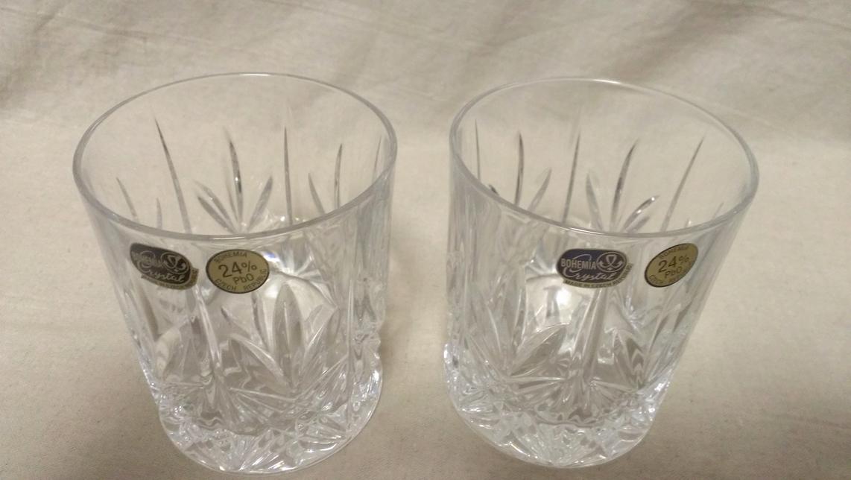 【ロックグラス】『良品』 ロックグラス 4点 切子 クリスタルグラス 24%PbO / ボヘミアクリスタル 180227c_画像2