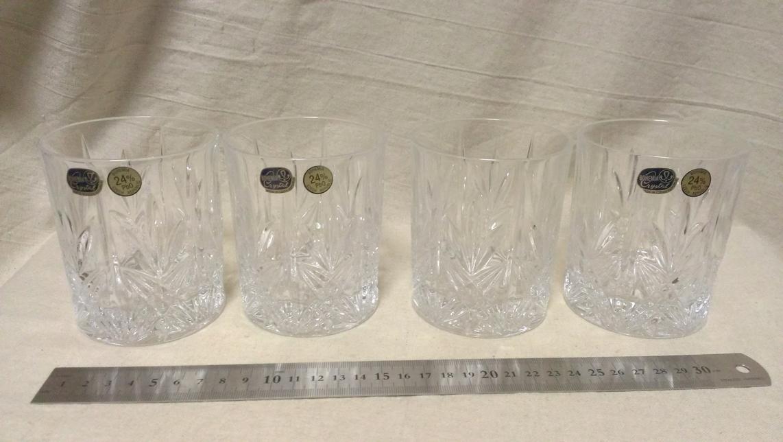 【ロックグラス】『良品』 ロックグラス 4点 切子 クリスタルグラス 24%PbO / ボヘミアクリスタル 180227c_画像1