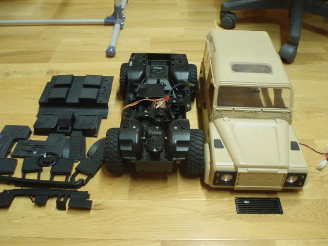 ディフェンダーD90プラボディー タミヤcc-01シャーシ ジャンク部品どりで