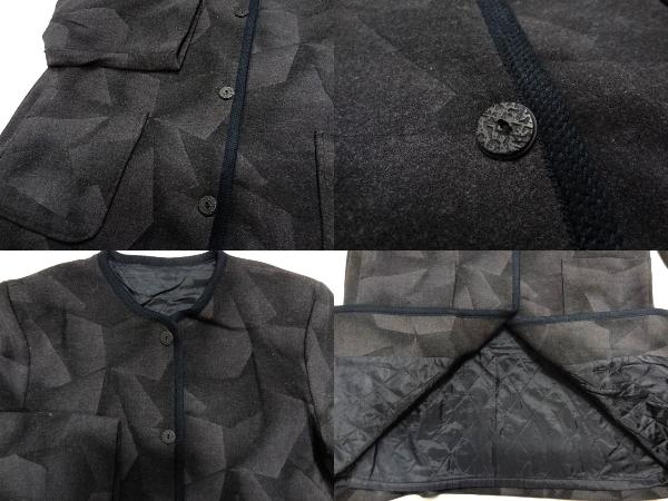 希少 ジオメトリー モノトーン 黒 灰 ノーカラー ウール コート 幾何学 シャドー グラデーション パターン レア 男女着用可能_画像3