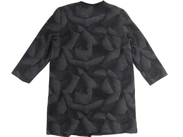 希少 ジオメトリー モノトーン 黒 灰 ノーカラー ウール コート 幾何学 シャドー グラデーション パターン レア 男女着用可能_画像2