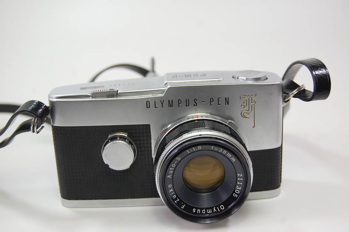 OLYMPUS-PEN F+F.Zuiko Auto-S 1:1.8 f=38mm+Olympus Zuiko Auto-zoom 1:3.5 f=50~90mm+専用メーター 花文字 ペンF ハーフカメラ _画像2