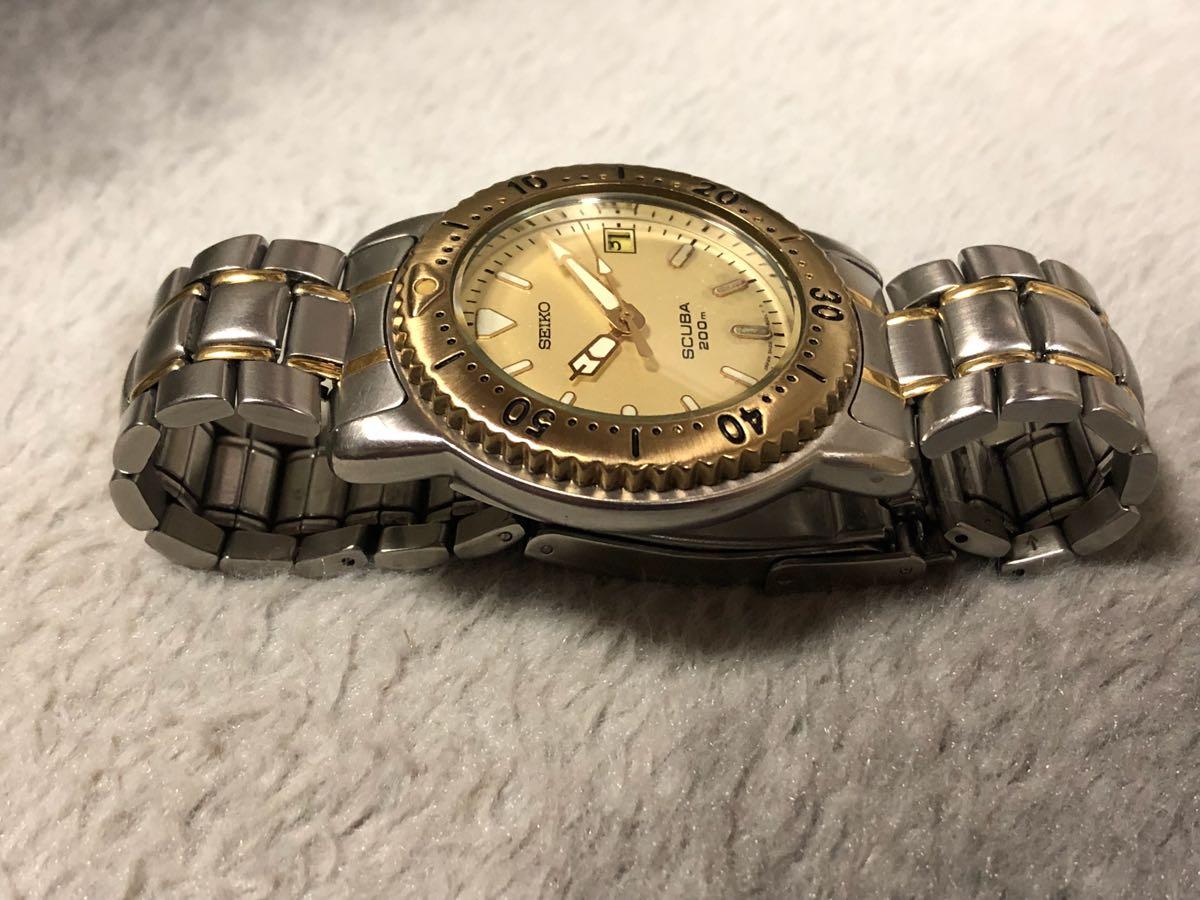 【希少】SEIKO SCUBA 200m セイコー スキューバ ダイバーズ クォーツ 腕時計 5H25-6070【電池交換済み】_画像3