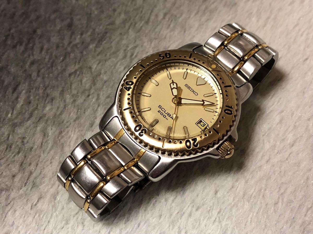 【希少】SEIKO SCUBA 200m セイコー スキューバ ダイバーズ クォーツ 腕時計 5H25-6070【電池交換済み】