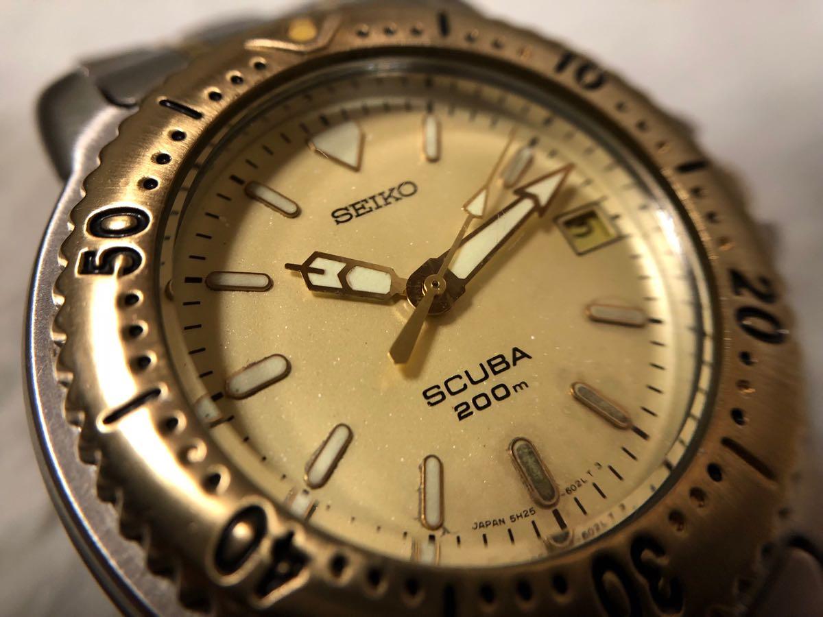 【希少】SEIKO SCUBA 200m セイコー スキューバ ダイバーズ クォーツ 腕時計 5H25-6070【電池交換済み】_画像8