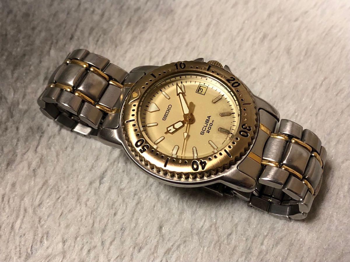 【希少】SEIKO SCUBA 200m セイコー スキューバ ダイバーズ クォーツ 腕時計 5H25-6070【電池交換済み】_画像10