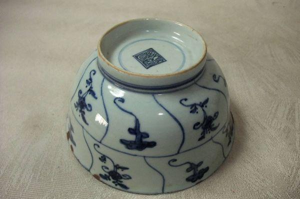 ■中国古玩 唐物 染付 青華紋 鉢 時代物 骨董品 古美術■_画像7