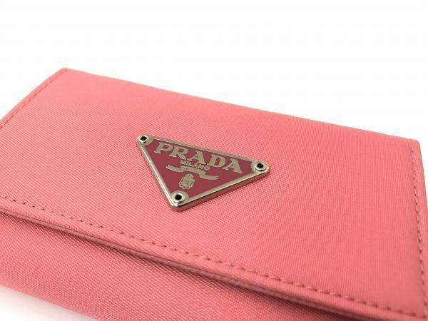 ☆美品 PRADA プラダ M222 ロゴ ナイロン×レザー 6連キーケース ピンク BI-947_画像7