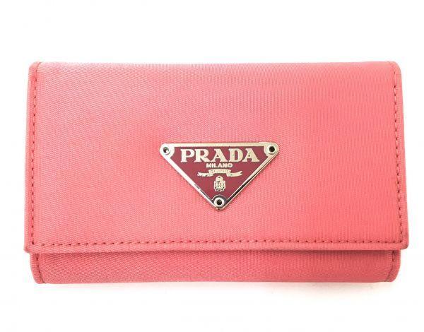 ☆美品 PRADA プラダ M222 ロゴ ナイロン×レザー 6連キーケース ピンク BI-947