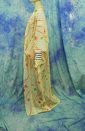 (70)絽 夏着物 washable 合成繊維 中古 紅葉柄 洗える着物 Japanese Kimono 159cm 62.5inch synthetic fiber_画像3