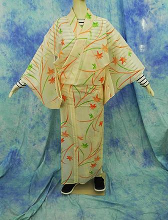 (70)絽 夏着物 washable 合成繊維 中古 紅葉柄 洗える着物 Japanese Kimono 159cm 62.5inch synthetic fiber_画像1