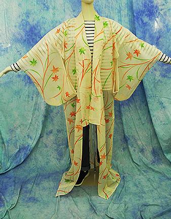 (70)絽 夏着物 washable 合成繊維 中古 紅葉柄 洗える着物 Japanese Kimono 159cm 62.5inch synthetic fiber_画像2