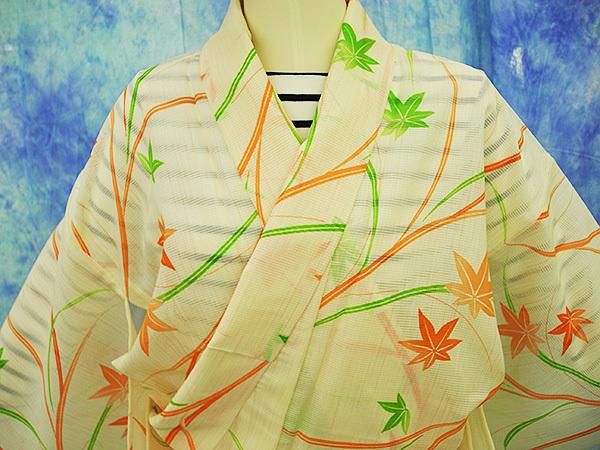 (70)絽 夏着物 washable 合成繊維 中古 紅葉柄 洗える着物 Japanese Kimono 159cm 62.5inch synthetic fiber_画像5