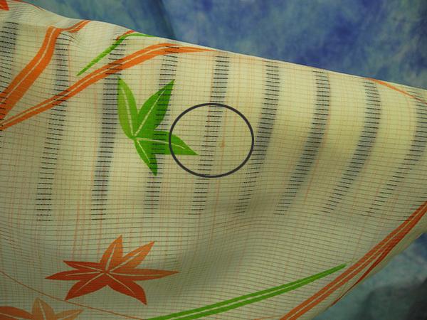 (70)絽 夏着物 washable 合成繊維 中古 紅葉柄 洗える着物 Japanese Kimono 159cm 62.5inch synthetic fiber_画像6