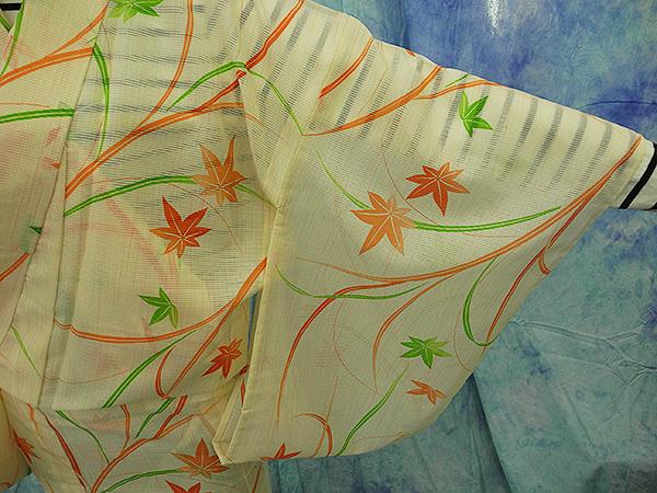 (70)絽 夏着物 washable 合成繊維 中古 紅葉柄 洗える着物 Japanese Kimono 159cm 62.5inch synthetic fiber_画像7