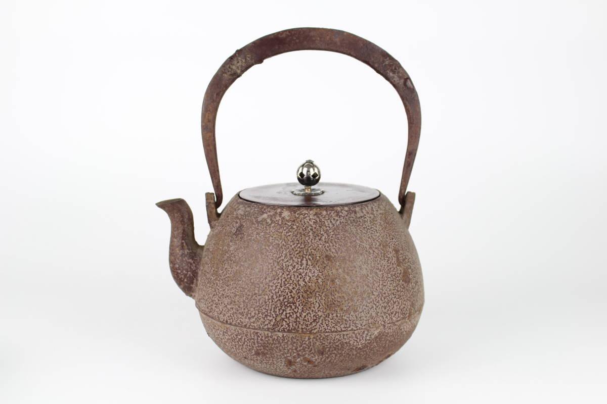 4146 雨宮金寿堂造 銀摘斑紫銅蓋 内蓋式長閑形 鉄瓶 煎茶道具