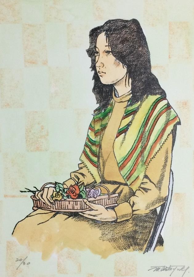 ★HA★版画☆作者不詳;バラの花束を持つ女性★A3額装