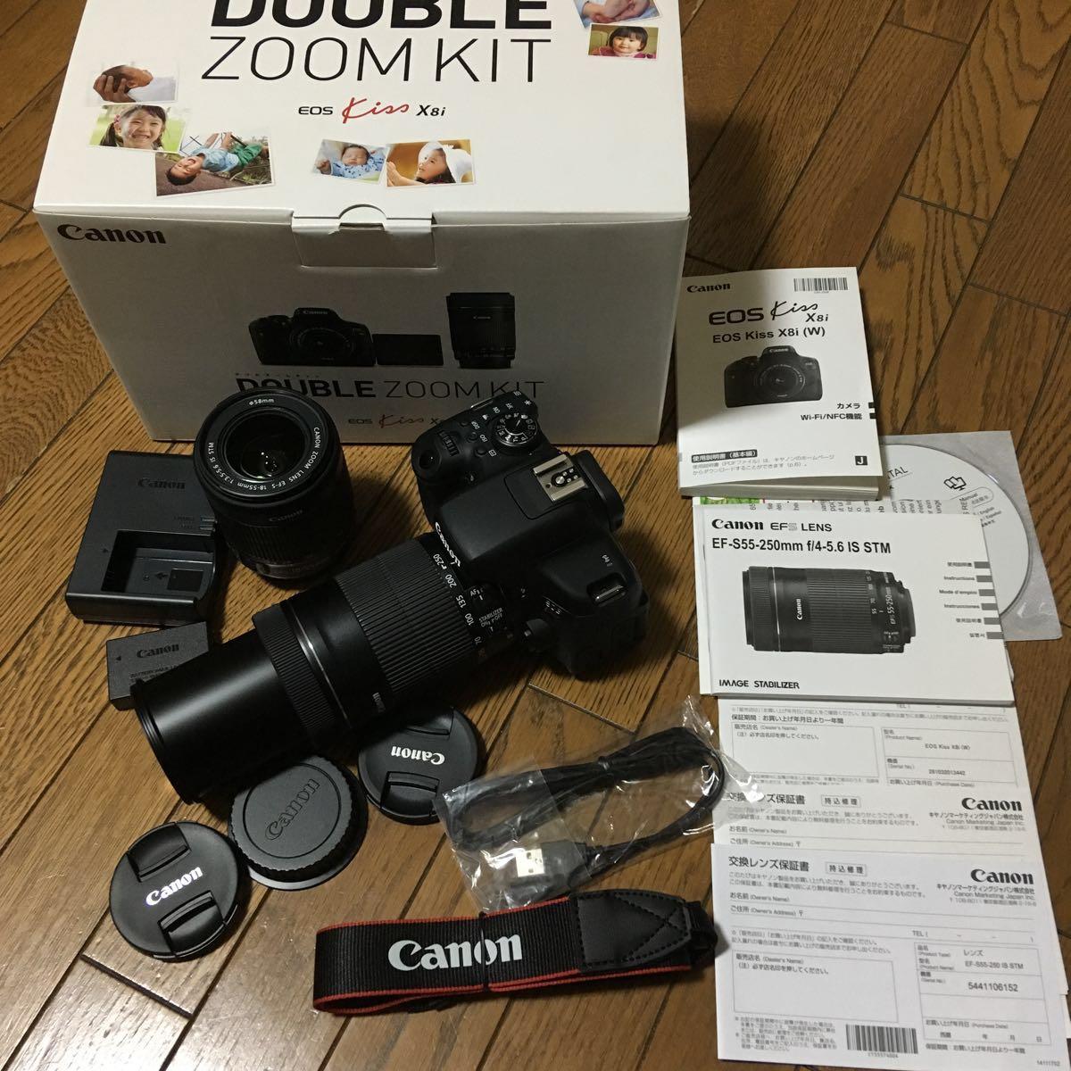 Canon EOS Kiss X8i ダブルズームキット(EF-S18-55mm F3.5-5.6 IS STM 55-250mm F4-5.6 IS STM)動作写りOK キレイ 付属品多 無記入の保証書