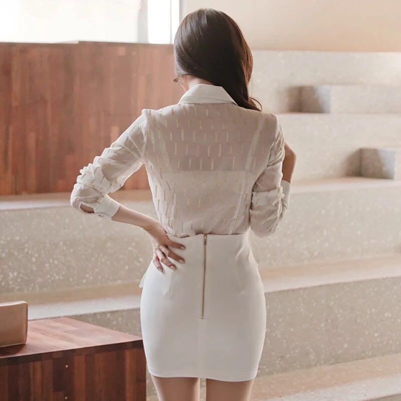 am966 送料無料 レティースシャツ トップス ブラウス ホワイト オシャレ OL オフィスレティ tシャツ_画像4