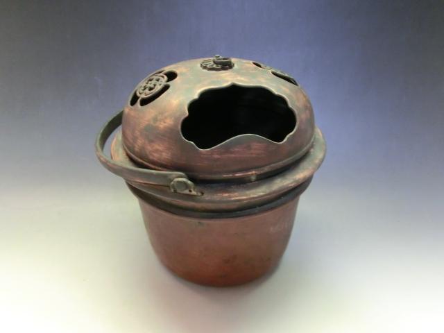 手炉■手焙り 花紋透かし 古銅製 手火鉢 火器 古美術 時代物 骨董品■_画像4