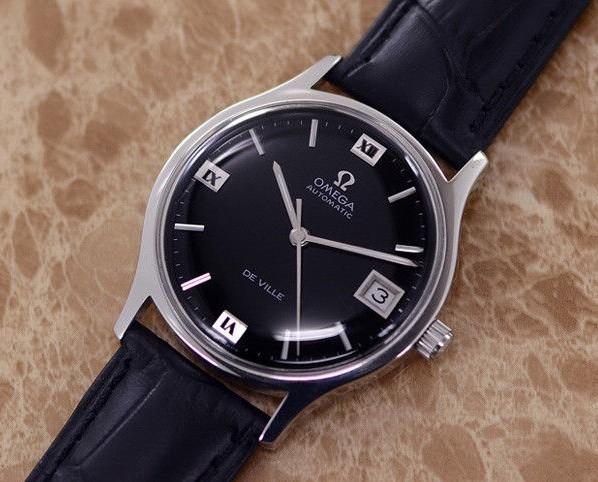 【☆新品仕上げ済み☆】オメガ デビル Cal.1002 ヴィンテージ アンティーク 自動巻き メンズ腕時計 極上品 黒_画像5