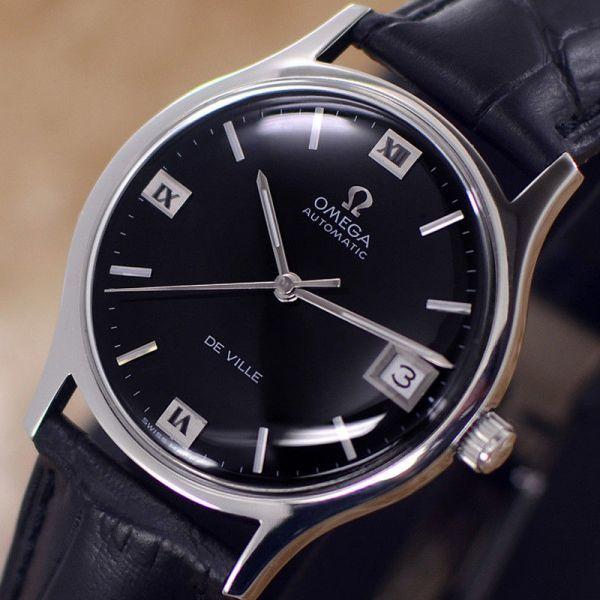 【☆新品仕上げ済み☆】オメガ デビル Cal.1002 ヴィンテージ アンティーク 自動巻き メンズ腕時計 極上品 黒