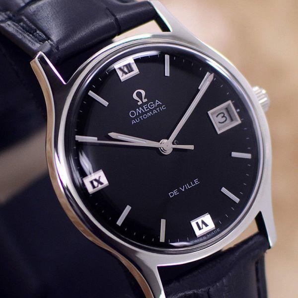 【☆新品仕上げ済み☆】オメガ デビル Cal.1002 ヴィンテージ アンティーク 自動巻き メンズ腕時計 極上品 黒_画像2