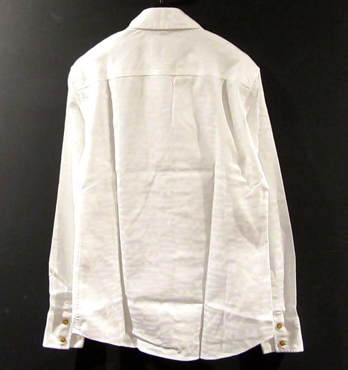 Vivienne Westwood MAN ロゴ総柄 オジークラークシャツ アシンメトリー コットン ブラウス 白 ORB刺繍 オーブ_画像2