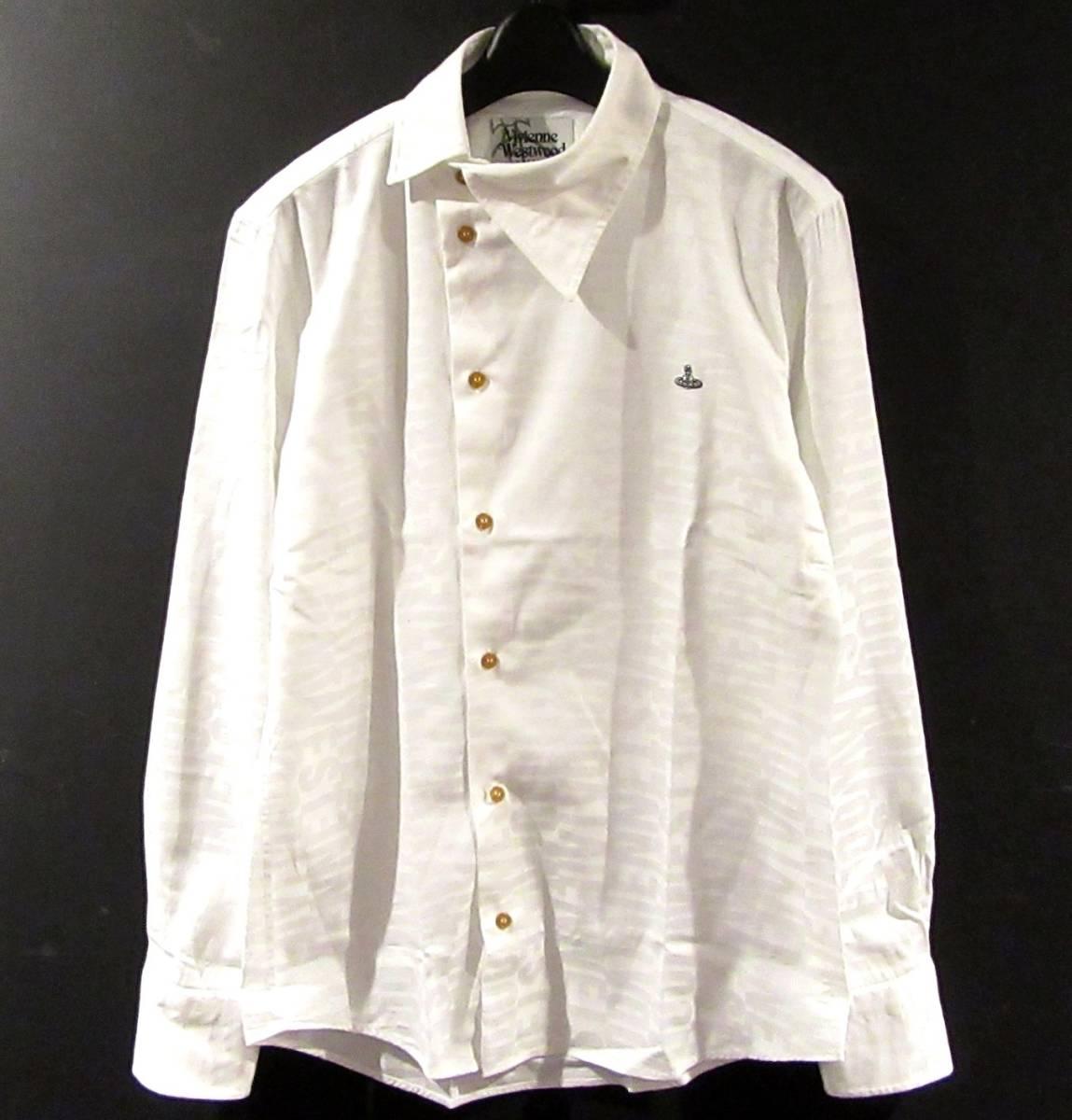 Vivienne Westwood MAN ロゴ総柄 オジークラークシャツ アシンメトリー コットン ブラウス 白 ORB刺繍 オーブ_画像1