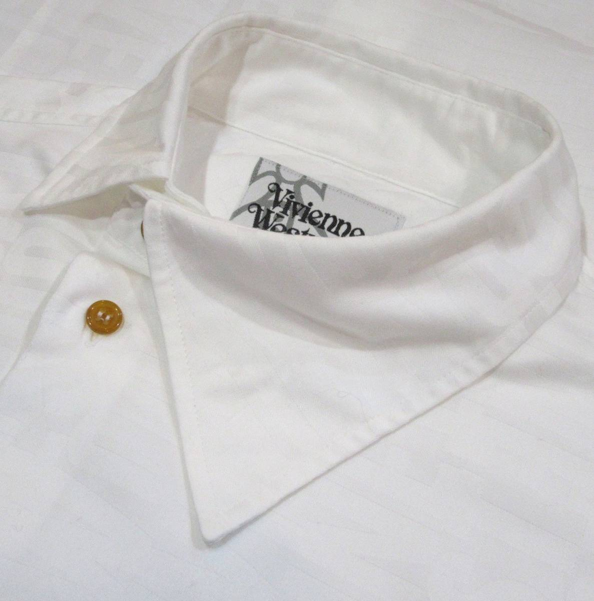 Vivienne Westwood MAN ロゴ総柄 オジークラークシャツ アシンメトリー コットン ブラウス 白 ORB刺繍 オーブ_画像3