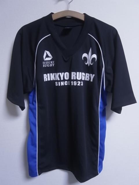 19393★スズキラグビー SUZUKI RUGBY 立教大学 ラグビー部 半袖シャツ 黒青白☆M_画像2