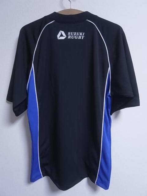 19393★スズキラグビー SUZUKI RUGBY 立教大学 ラグビー部 半袖シャツ 黒青白☆M_画像7