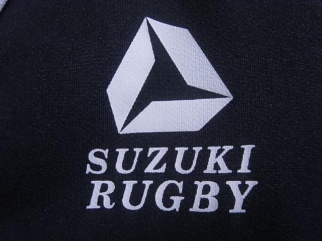 19393★スズキラグビー SUZUKI RUGBY 立教大学 ラグビー部 半袖シャツ 黒青白☆M_画像3