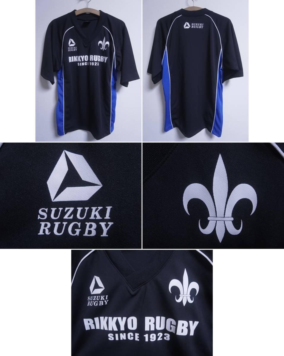 19393★スズキラグビー SUZUKI RUGBY 立教大学 ラグビー部 半袖シャツ 黒青白☆M_画像1